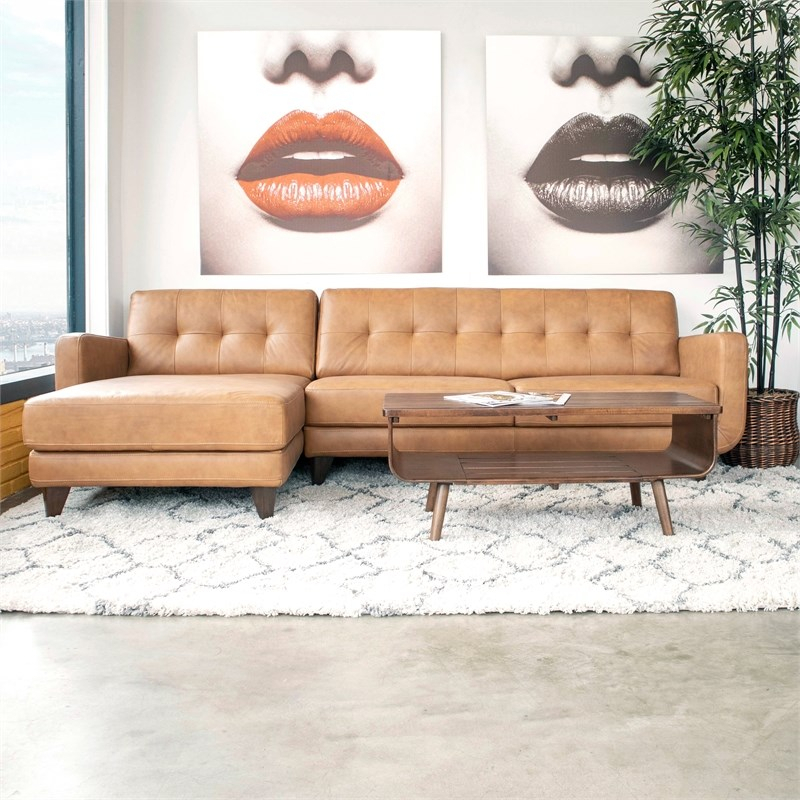 Mid Century Modern Davis Tan Genuine Leather Sectional Regarding Florence Mid Century Modern Left Sectional Sofas (View 8 of 15)