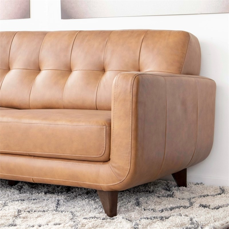 Mid Century Modern Davis Tan Genuine Leather Sectional With Florence Mid Century Modern Left Sectional Sofas (View 13 of 15)