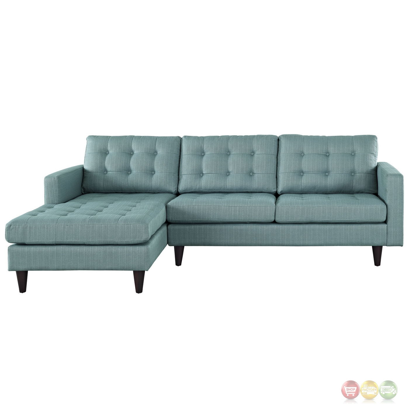 Mid Century Modern Empress Left Facing Button Tufted In Florence Mid Century Modern Left Sectional Sofas (View 6 of 15)