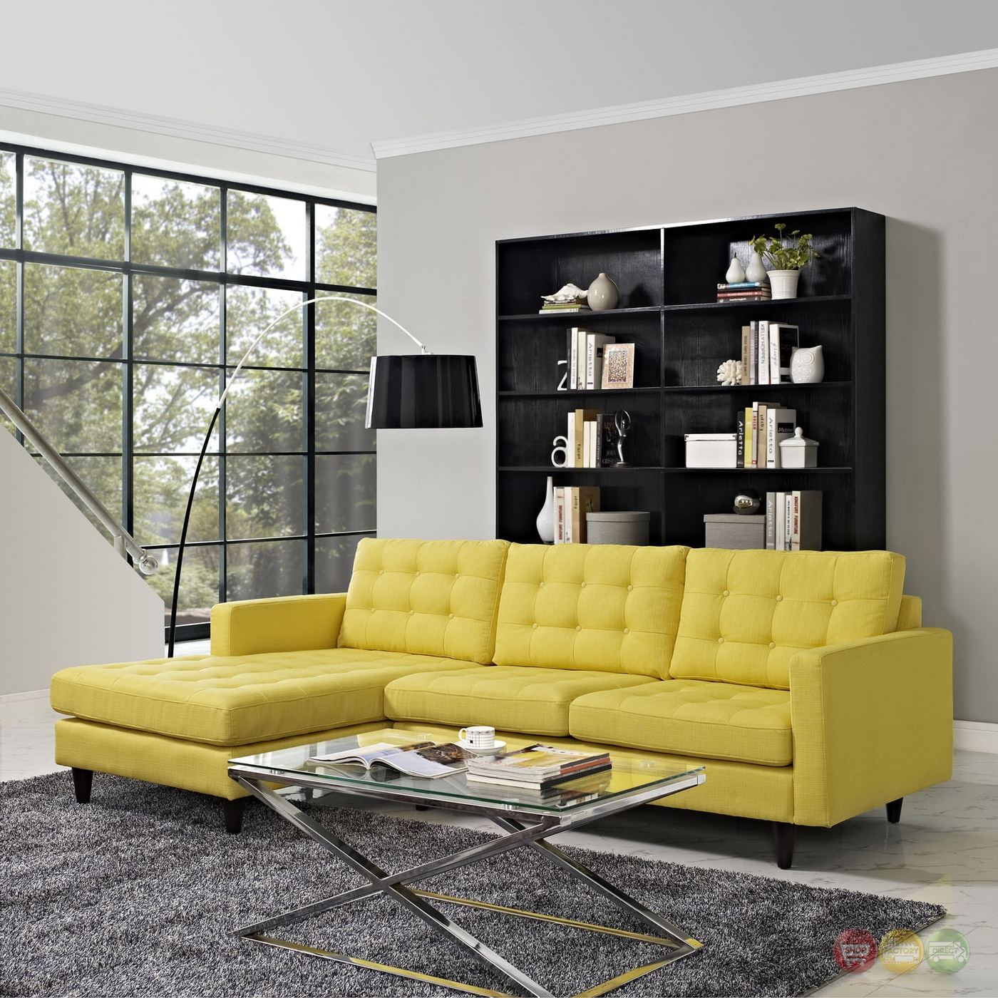 Mid Century Modern Empress Left Facing Button Tufted Regarding Florence Mid Century Modern Left Sectional Sofas (View 3 of 15)