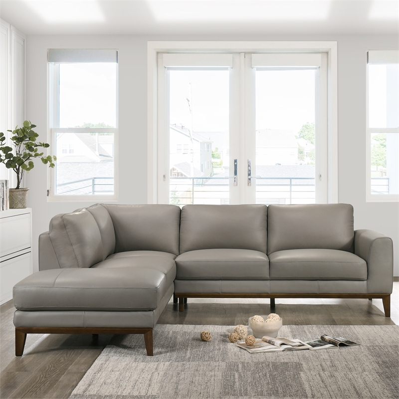 Mid Century Modern Milton Gray Leather Sectional Sofa Regarding Florence Mid Century Modern Left Sectional Sofas (View 11 of 15)