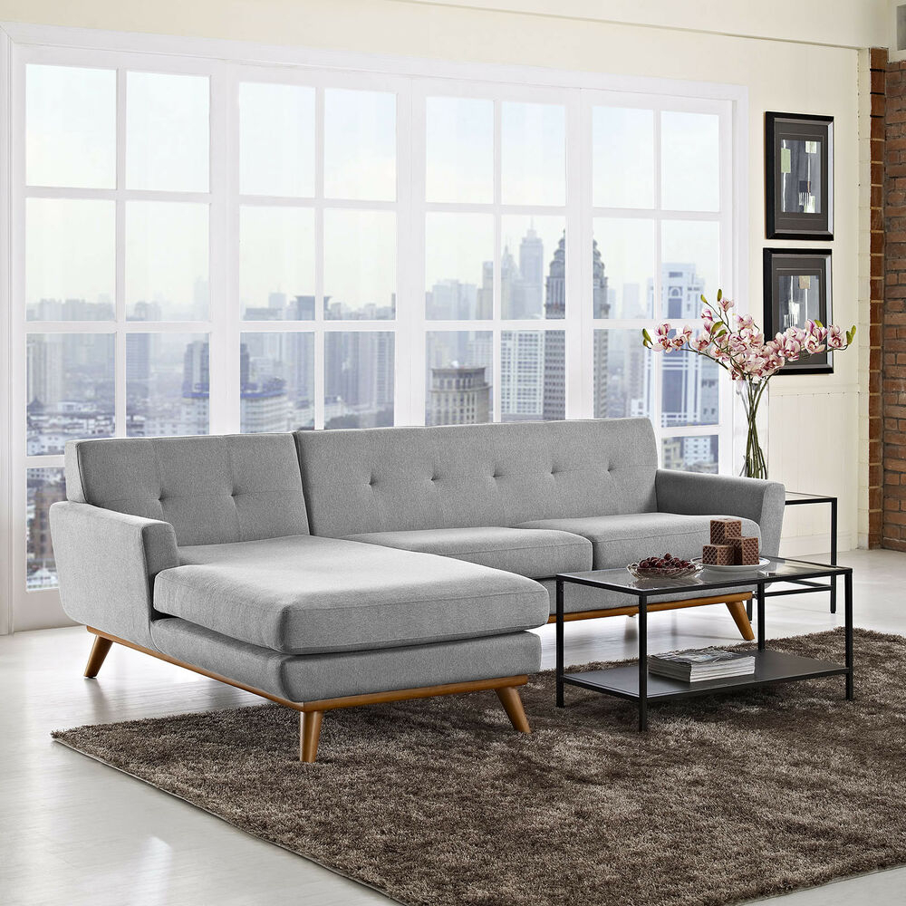 Mid Century Modern Upholstered Left Facing Sectional Sofa In Florence Mid Century Modern Left Sectional Sofas (View 1 of 15)