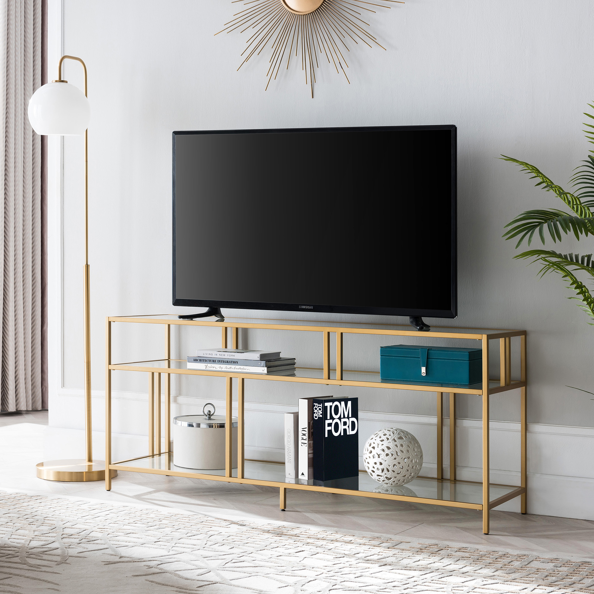 """Modern Metal Tv Stand For Tvs Up To 55"""", Industrial Media For Baba Tv Stands For Tvs Up To 55"""" (View 7 of 15)"""