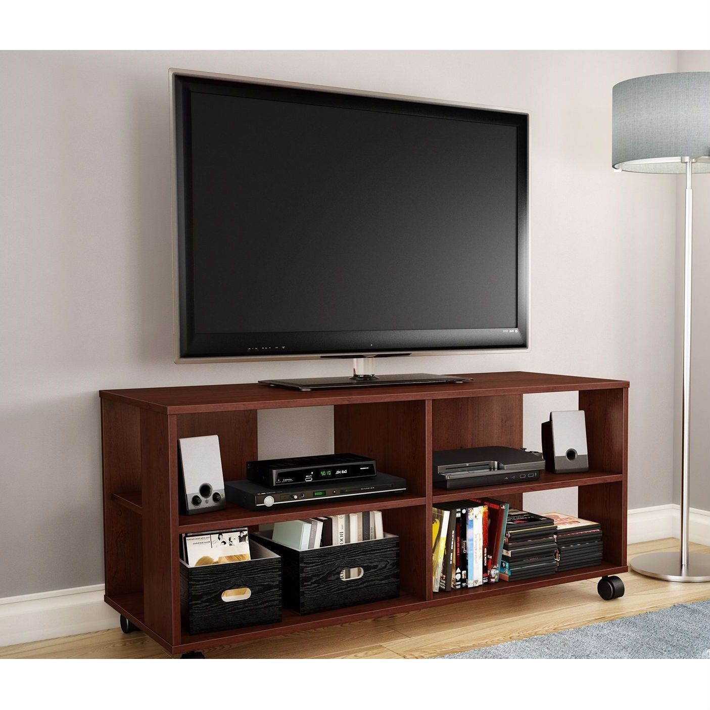 Modern Royal Cherry Finish Tv Stand With Casters Wheels Pertaining To Square Tv Stands (View 4 of 15)