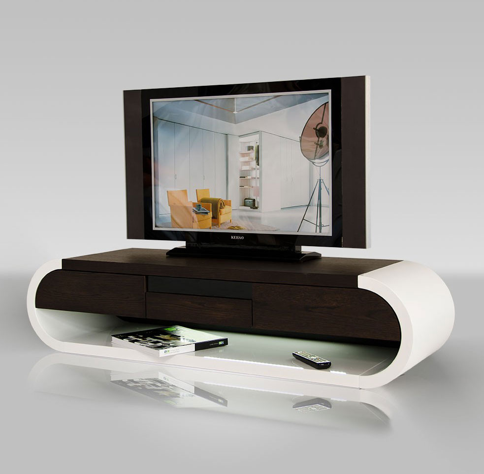 Modern Tv Entertainment Unit With Light | Tv Stands Regarding Oval Tv Unit (View 10 of 15)