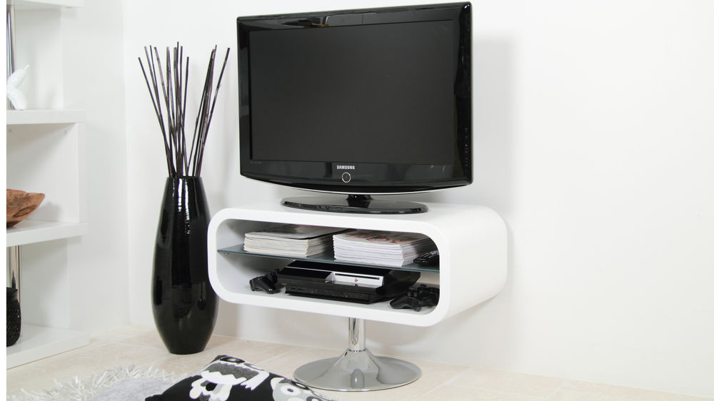 Modern White Tv Stand  chrome Pedestal Base   White Gloss For Low Corner Tv Stands (View 15 of 15)