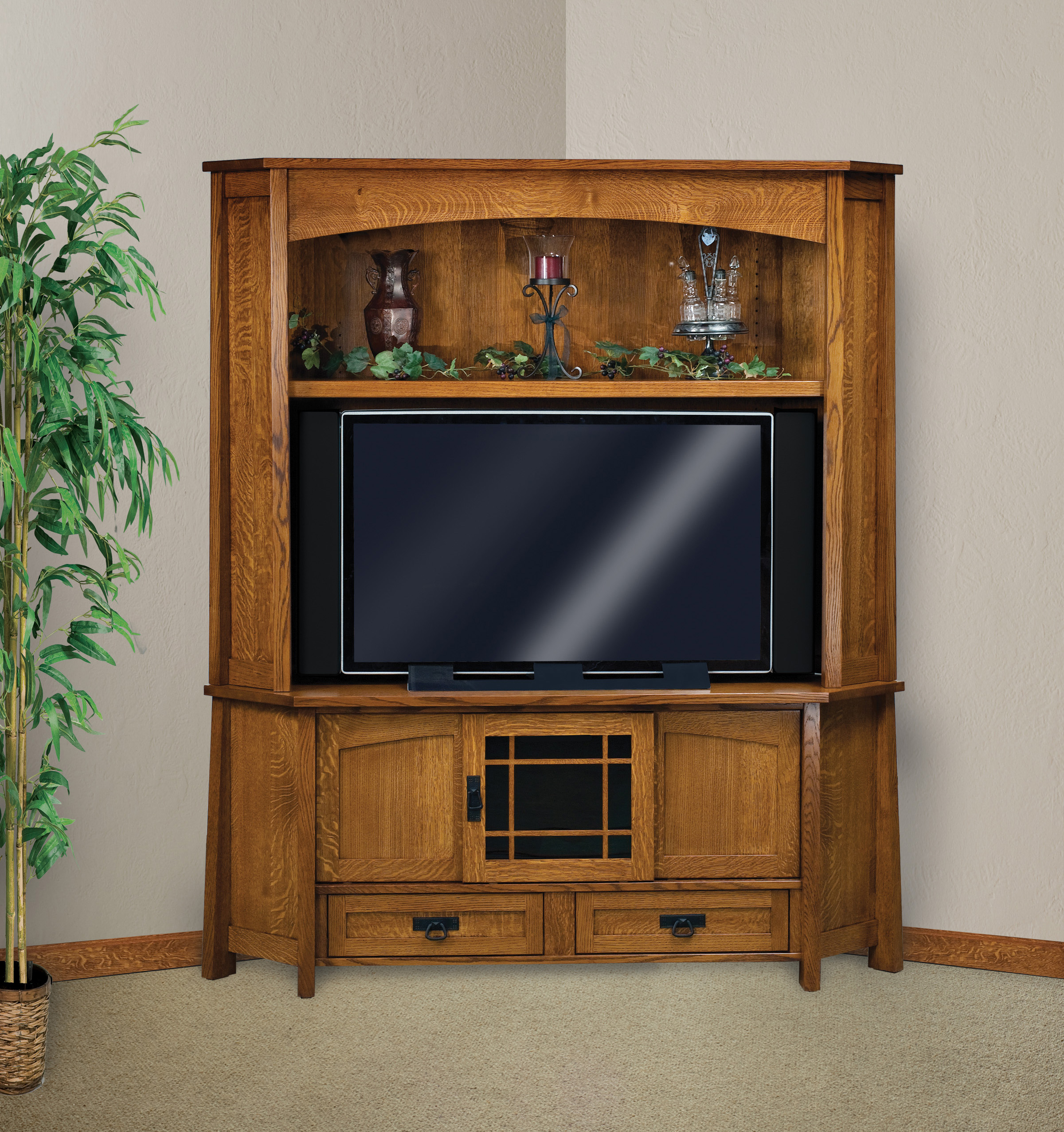 Modesto Corner Tv Hutch | Amish Solid Wood Tv Stands Throughout Wooden Tv Stand Corner Units (View 3 of 15)