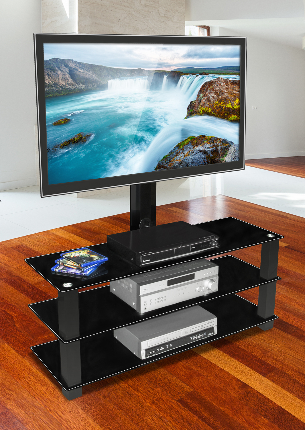 """Mount It! Tv Stand With Built In Bracket And Three Glass With Paulina Tv Stands For Tvs Up To 32"""" (View 12 of 15)"""