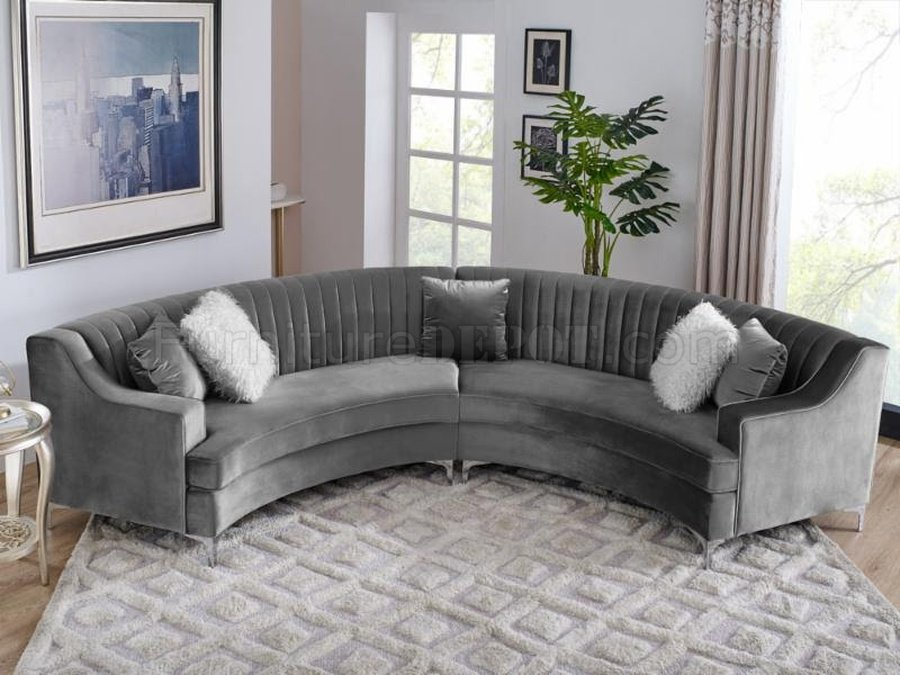 Ms2071 Sectional Sofa In Grey Velvetvimports Inside Noa Sectional Sofas With Ottoman Gray (View 15 of 15)