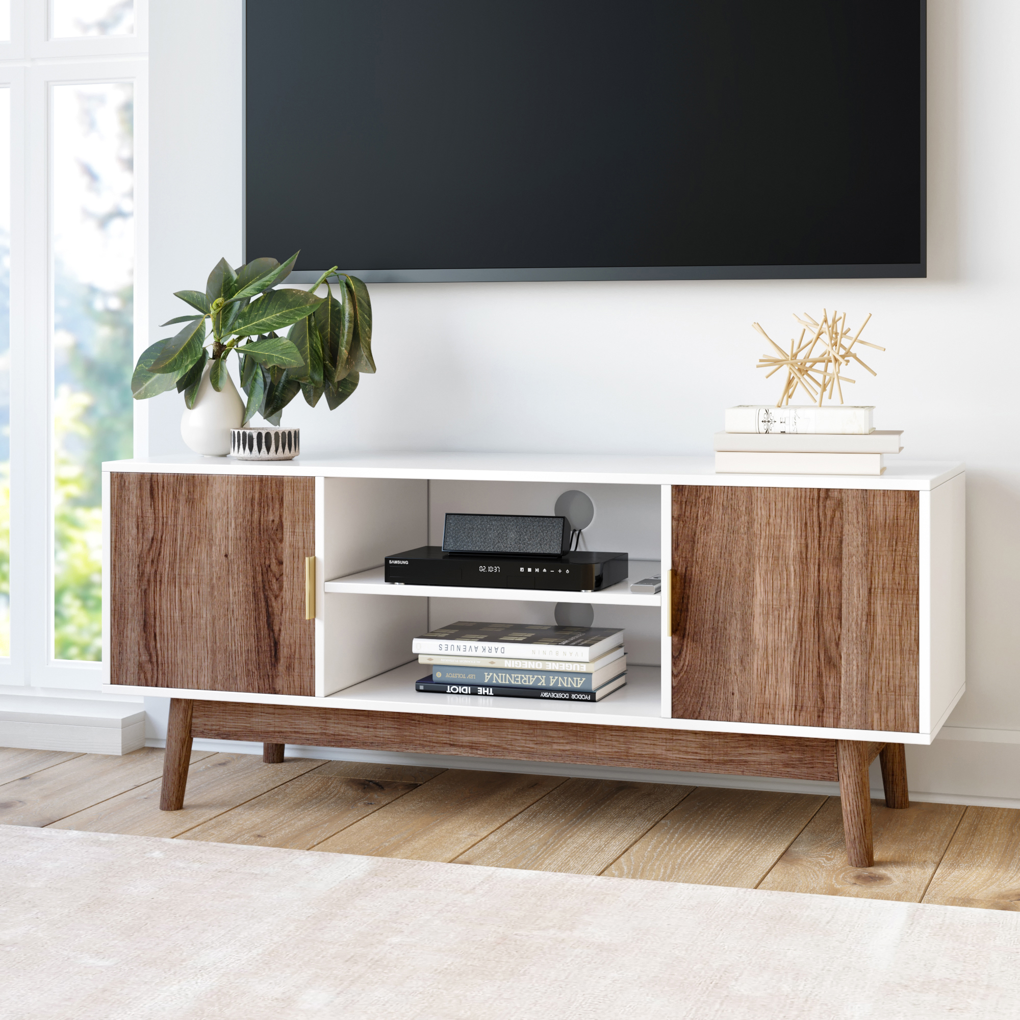 Nathan James Wesley Scandinavian Tv Stand Media Console Throughout Slim Tv Stands (View 8 of 15)