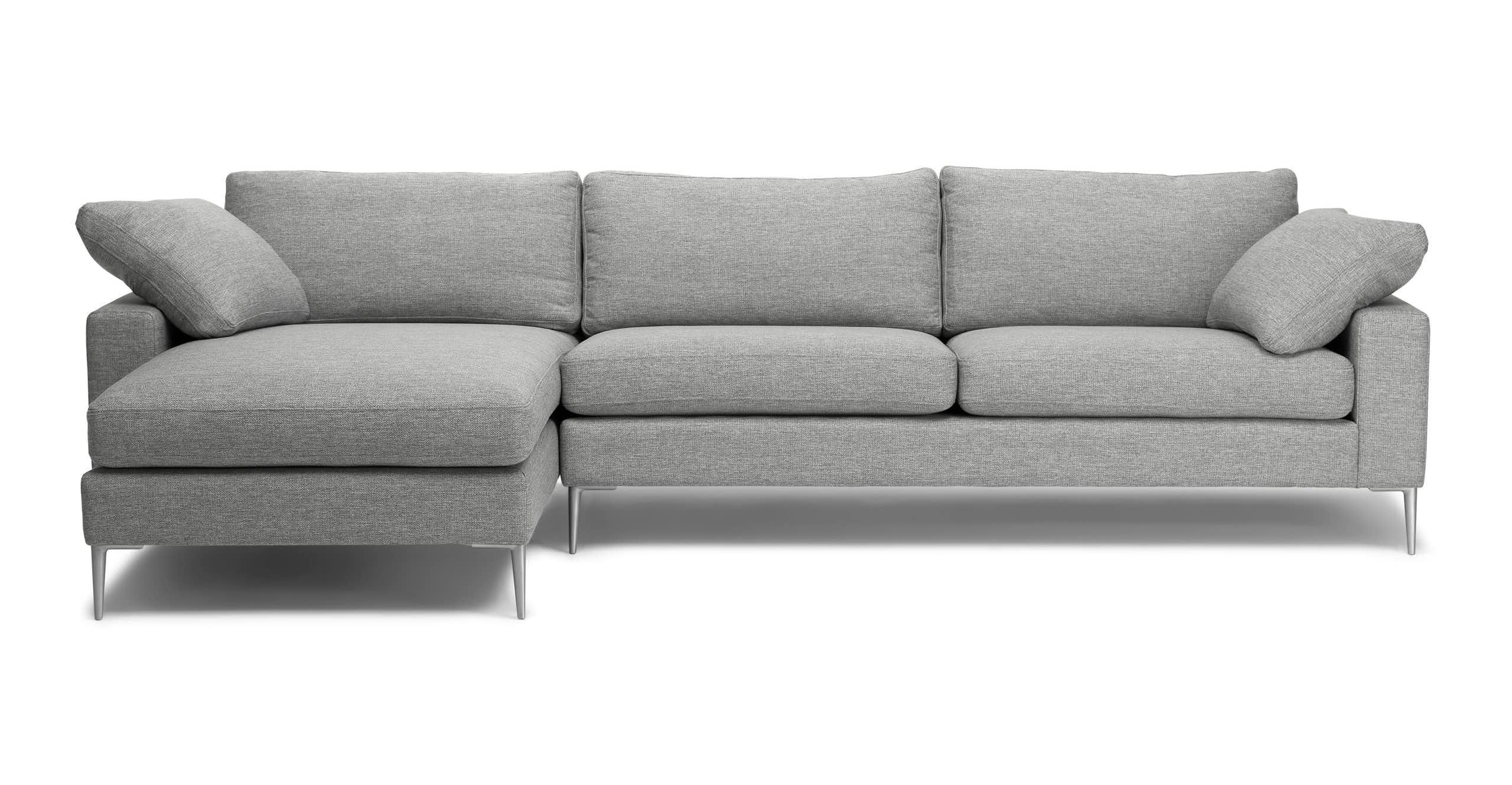 Nova Winter Gray Left Sectional Sofa   Mid Century Modern Inside Florence Mid Century Modern Left Sectional Sofas (View 9 of 15)