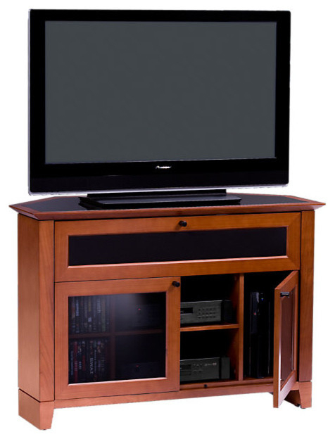 Novia Corner Tv Stand, Single Wide, Natural Cherry For Single Tv Stands (View 9 of 15)