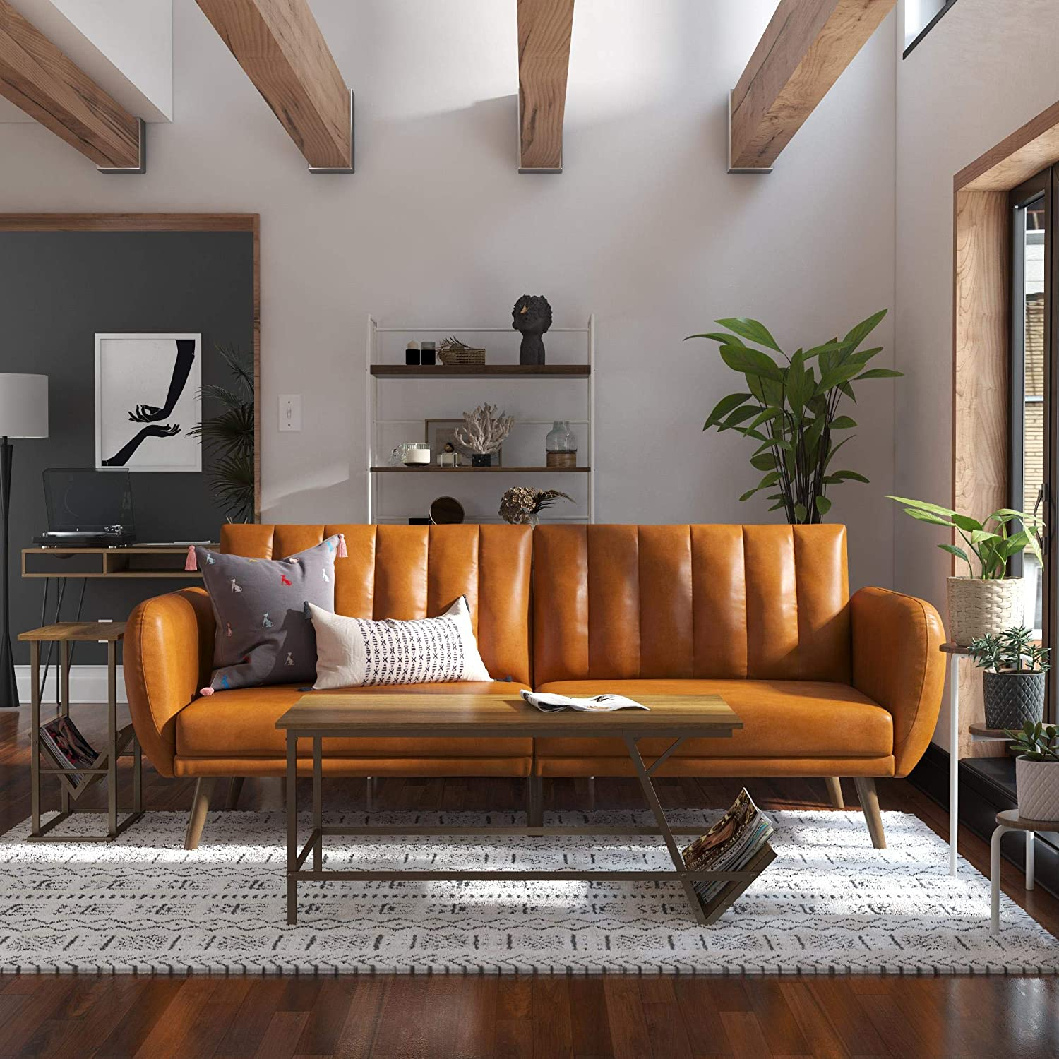 Novogratz Brittany Futon, Convertible Sofa & Couch, Camel With Brittany Sectional Futon Sofas (View 4 of 15)