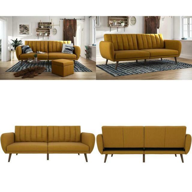 Novogratz Brittany Sofa Futon, Premium Linen Upholstery Regarding Brittany Sectional Futon Sofas (View 14 of 15)