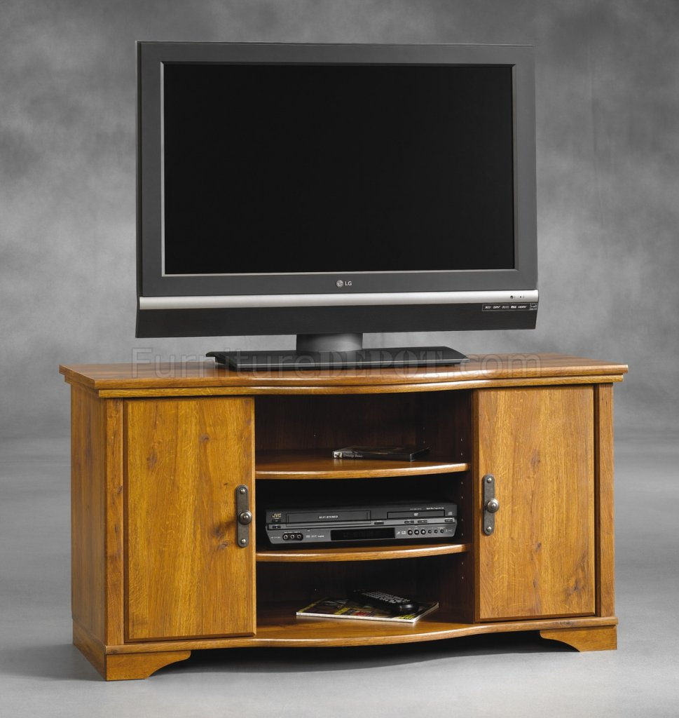 Oak Finish Modern Tv Stand W/doors & Shelves Regarding Baby Proof Contemporary Tv Cabinets (View 9 of 15)