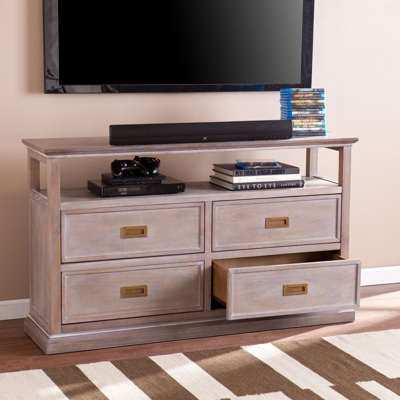 One Allium Way Forteau Burnt Oak Tv/ Media Stand & Reviews For Single Tv Stands (View 5 of 15)