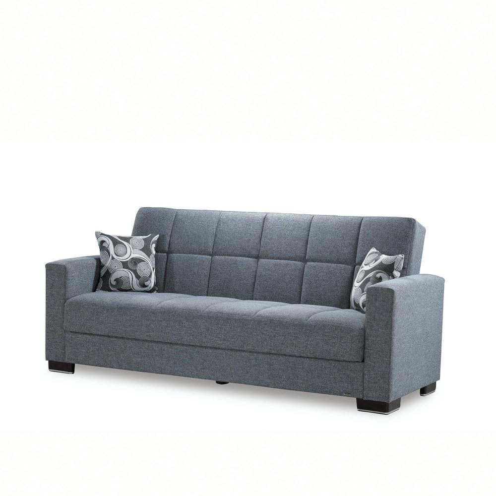 Ottomanson Armada Gray Fabric Upholstery Sofa Sleeper Bed In Hugo Chenille Upholstered Storage Sectional Futon Sofas (View 15 of 15)