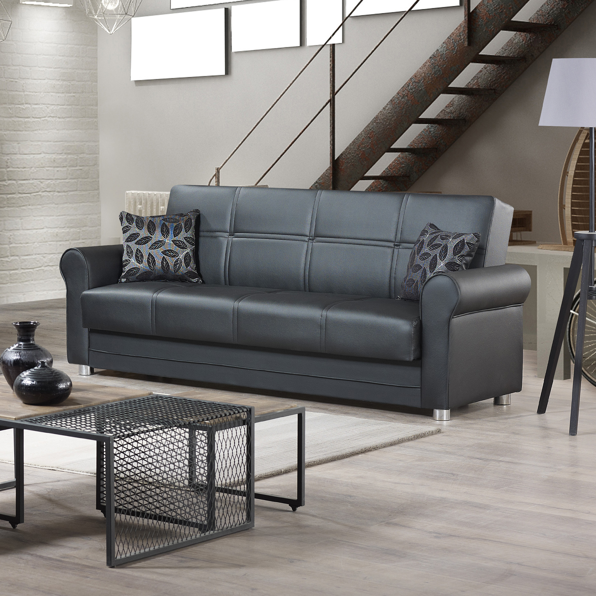 Ottomanson Avalon Sofa Bed With Storage In Leather Intended For Hartford Storage Sectional Futon Sofas (View 1 of 15)
