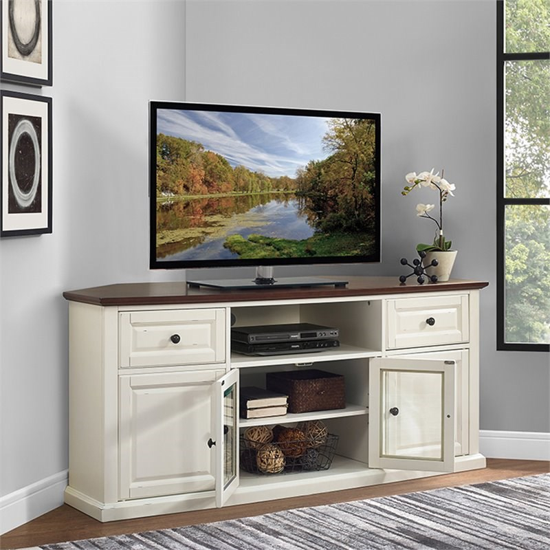 """Pemberly Row 60"""" Corner Tv Stand In White And Mahogany For Corner 60 Inch Tv Stands (View 1 of 15)"""
