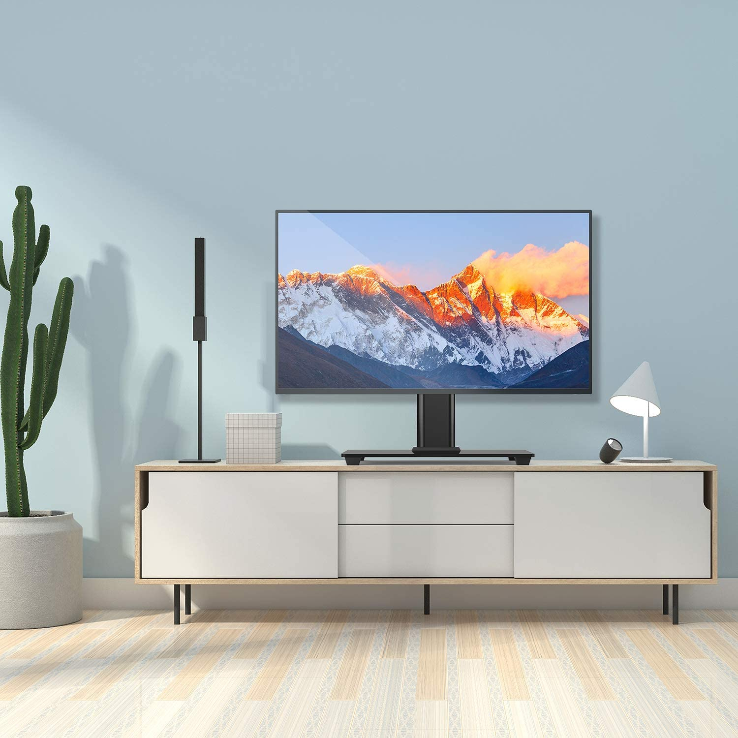 Perlesmith Universal Tv Stand Table Top Tv Stand For 37 55 In Polar Led Tv Stands (View 3 of 15)