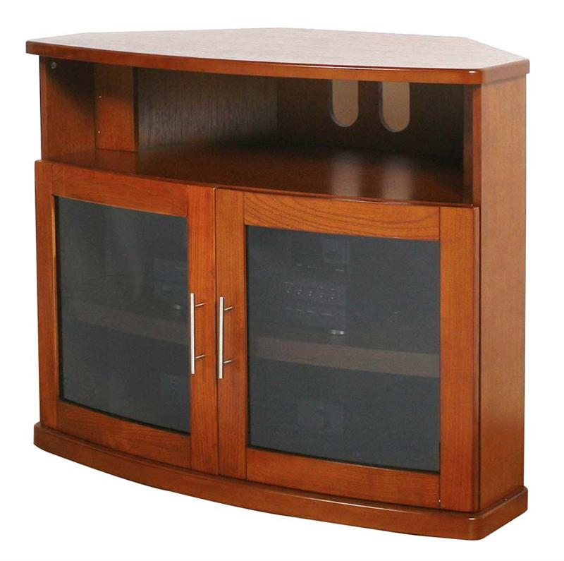 Plateau Newport Series Corner Wood Tv Cabinet With Glass With Tv Cabinets With Glass Doors (View 12 of 15)