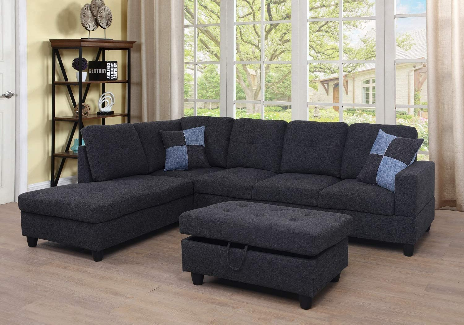Ponliving Furniture 3 Pcpiece Sectional Sofa Couch Set, L Throughout Hannah Right Sectional Sofas (View 4 of 15)