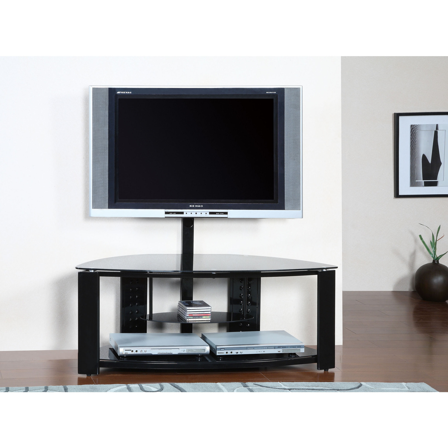Powell 2 Shelf Corner Flat Panel Tv Stand With Post And Within Easel Tv Stands For Flat Screens (View 10 of 15)