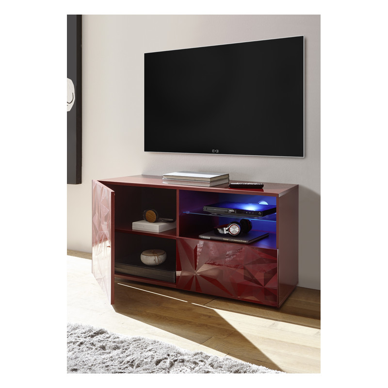 Prisma 121 Cm Red Gloss Decorative Tv Unit – Tv Stands Intended For Red Tv Units (View 6 of 15)