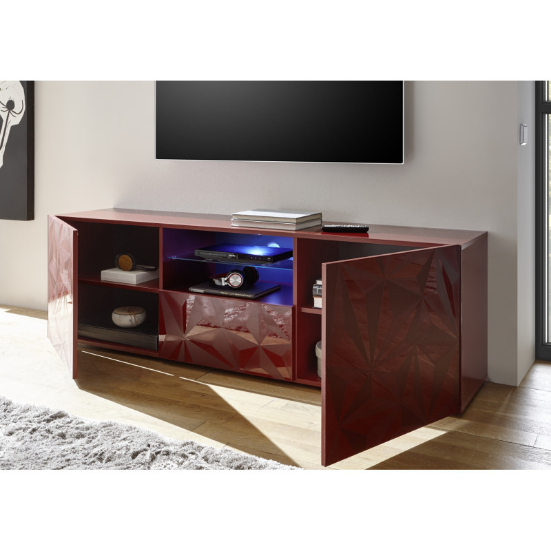 Prisma 181 Cm Red Gloss Decorative Tv Unit – Tv Stands For Red Tv Units (View 2 of 15)