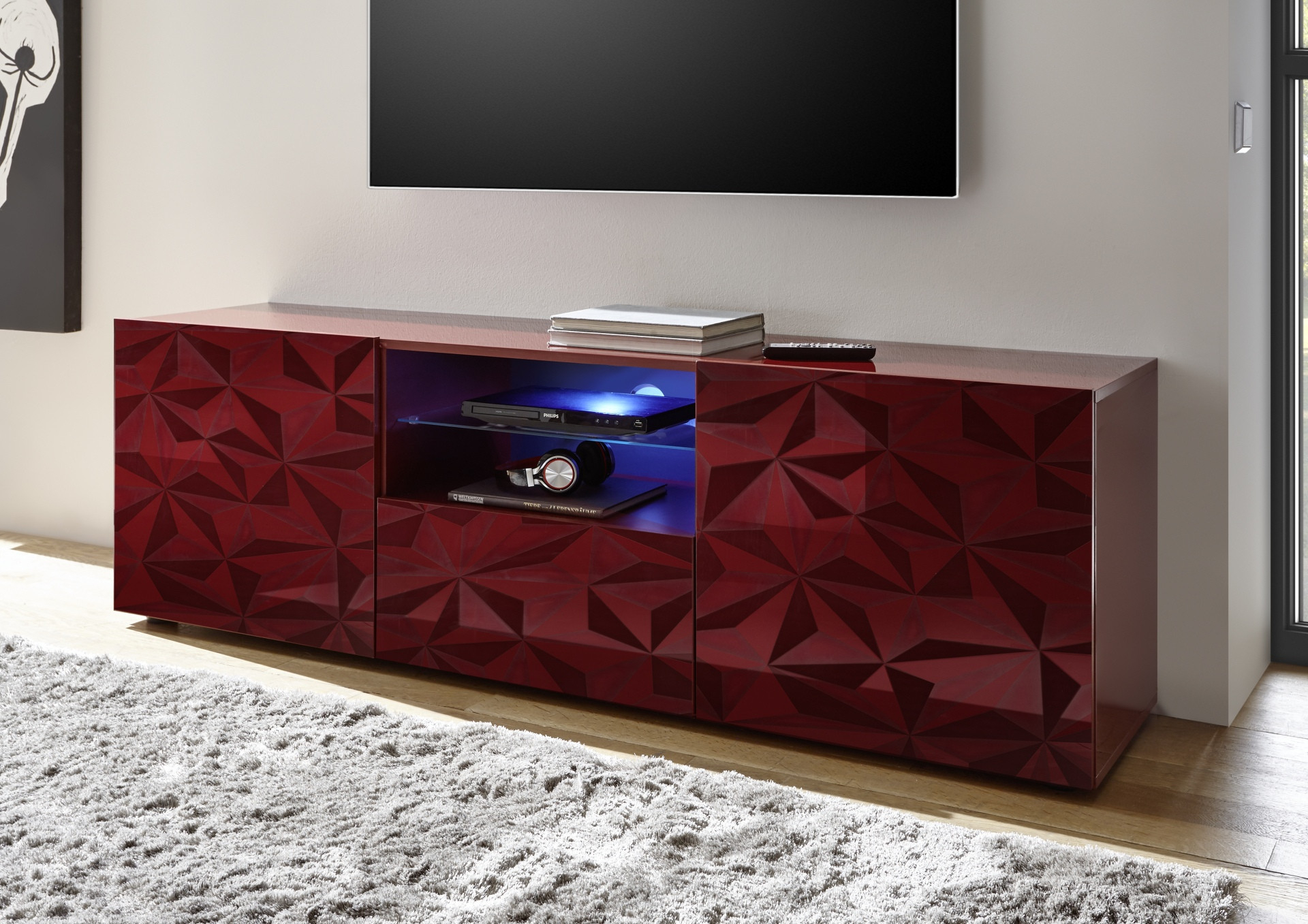 Prisma 181 Cm Red Gloss Decorative Tv Unit – Tv Stands Intended For Red Tv Units (View 1 of 15)