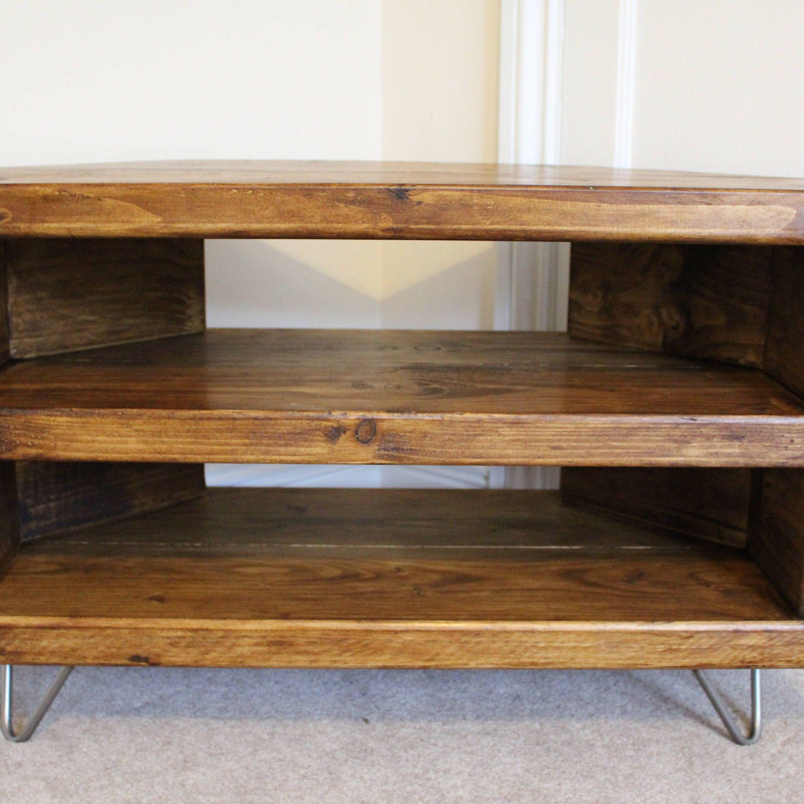 Reclaimed Rustic Wooden Corner Tv Stand Cabinet Unit Solid Inside Wooden Tv Stand Corner Units (View 4 of 15)