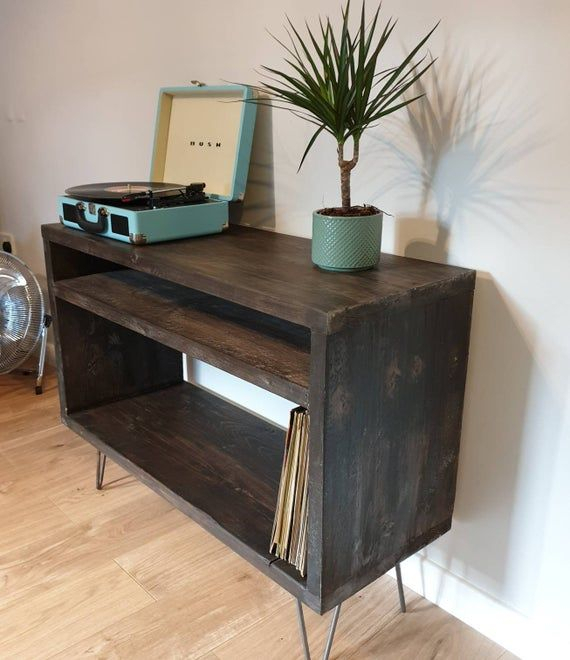 Record Player Stand – Industrial Tv Stand – Vinyl Storage For Industrial Tv Stands With Metal Legs Rustic Brown (View 5 of 15)