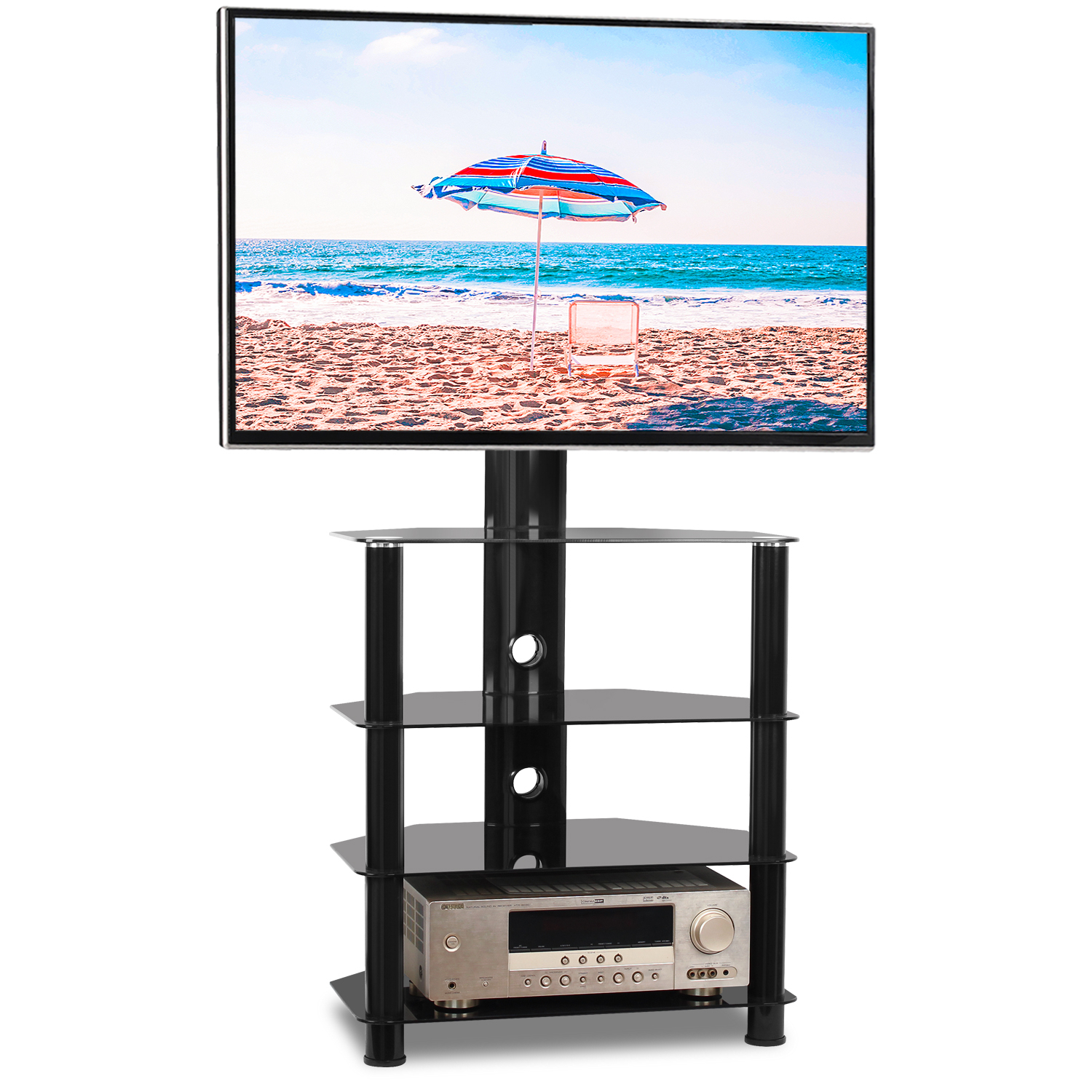 """Rfiver Modern 4 Shelf Floor Corner Tv Stand For 32"""" 55 Regarding Baba Tv Stands For Tvs Up To 55"""" (View 10 of 15)"""