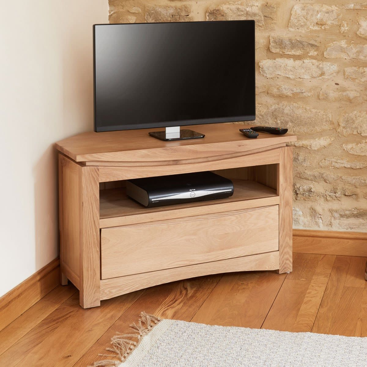 Roscoe Contemporary Oak Corner Television Cabinet | Wooden For Wooden Tv Stand Corner Units (View 1 of 15)
