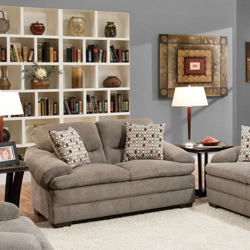Roselyn Miranda Shale 2 Pillows Loveseat Within Debbie Coil Sectional Sofas (View 10 of 15)