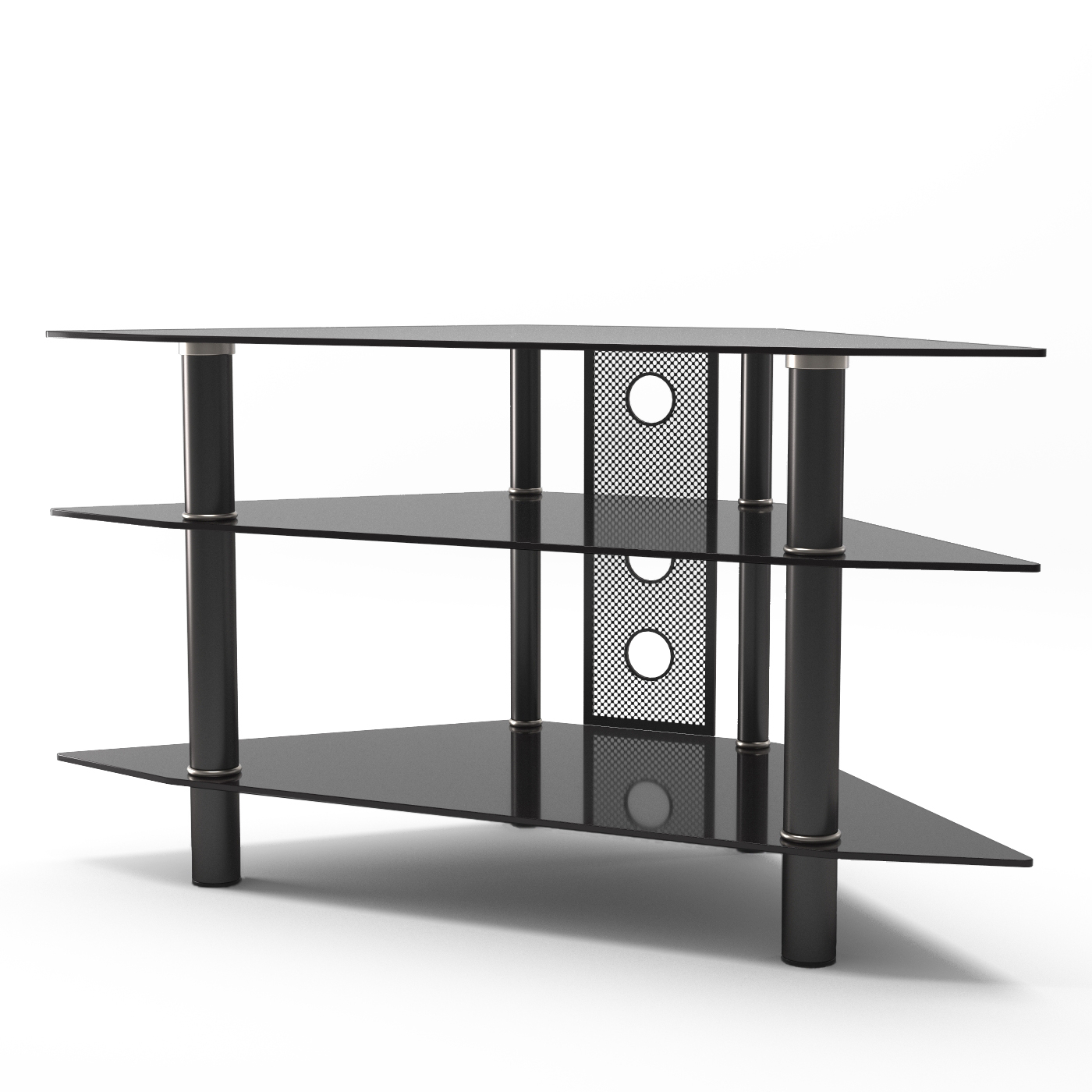 Ruby 44 Inch Corner Glass Tv Stand In Black Intended For Corner 60 Inch Tv Stands (View 12 of 15)