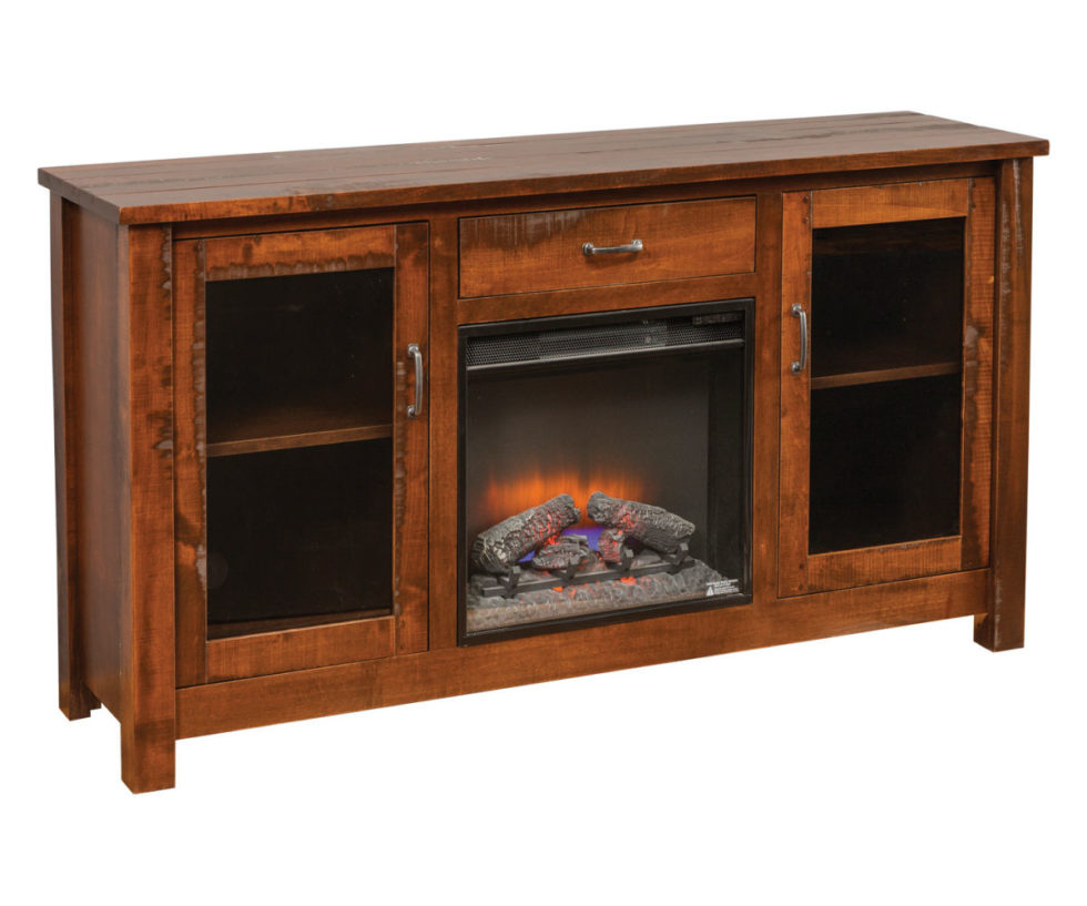 Rustic Fireplace Tv Stand   Heritage Amish Furniture Inside Twin Star Home Terryville Barn Door Tv Stands (View 8 of 15)