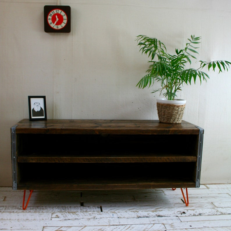 Rustic Industrial Scaffold Board Tv Unit Orange Hairpin For Industrial Tv Stands With Metal Legs Rustic Brown (View 11 of 15)
