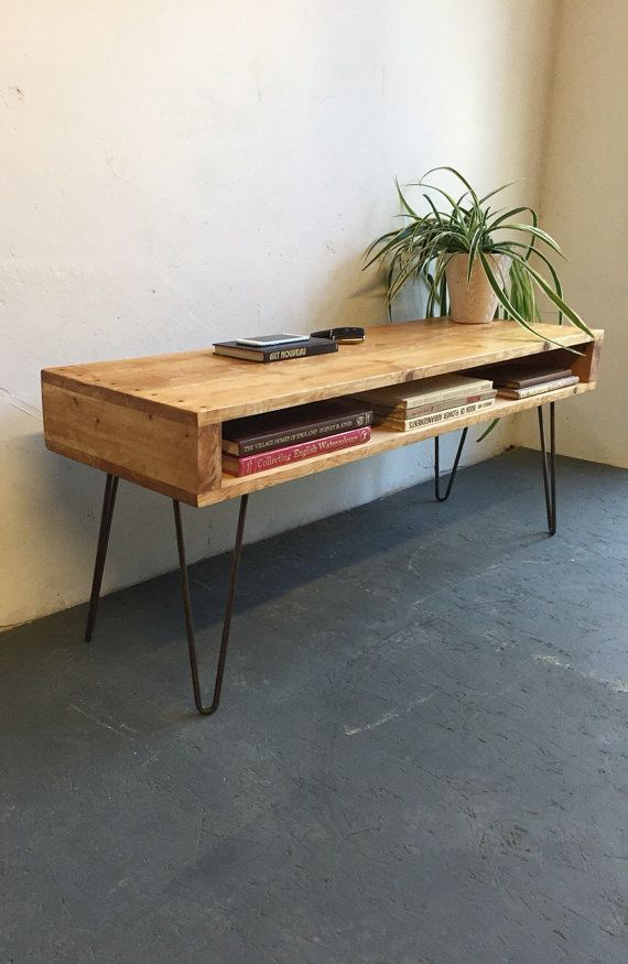 Rustic Industrial Vintage Side Table/ Coffee Table/ Tv Within Industrial Tv Stands With Metal Legs Rustic Brown (View 6 of 15)