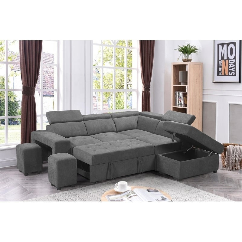 Sectional Sofa Sleeper L Shaped Pull Out Bed Storage With Regard To Hartford Storage Sectional Futon Sofas (View 11 of 15)