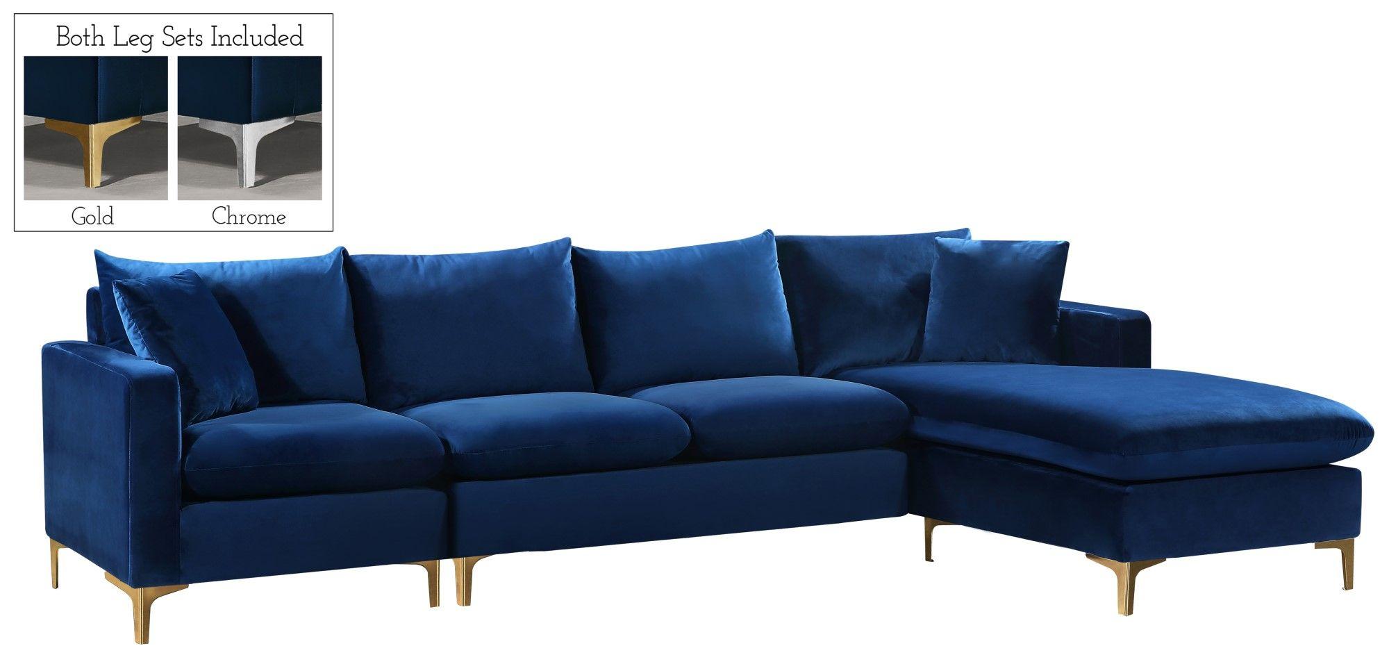 Selene Contemporary Plush Navy Blue Velvet Sectional Sofa Inside French Seamed Sectional Sofas In Velvet (View 13 of 15)