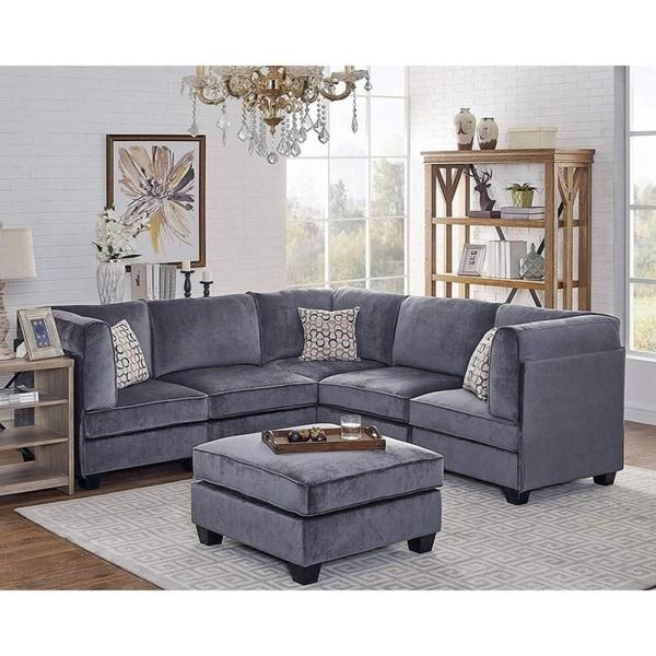 Shop Zelmira Gray Velvet 6pc Modular Sectional Sofa Throughout French Seamed Sectional Sofas In Velvet (View 8 of 15)