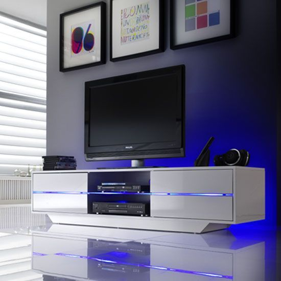 Sienna Tv Stand Unit In High Gloss White With Multi Led Throughout Long Black Gloss Tv Unit (View 11 of 15)