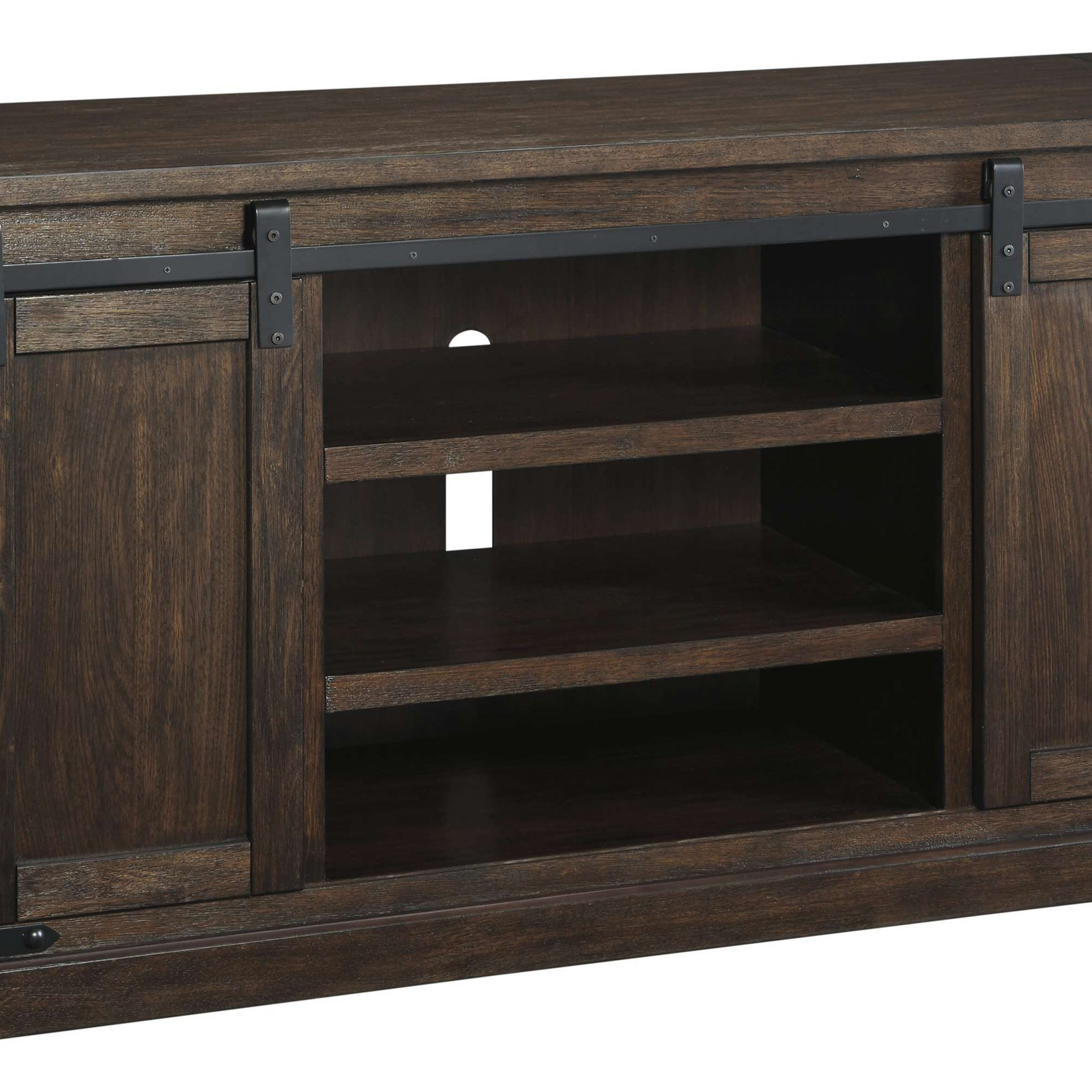 Signature Designashley Budmore Rustic Brown Large Tv In Industrial Tv Stands With Metal Legs Rustic Brown (View 12 of 15)