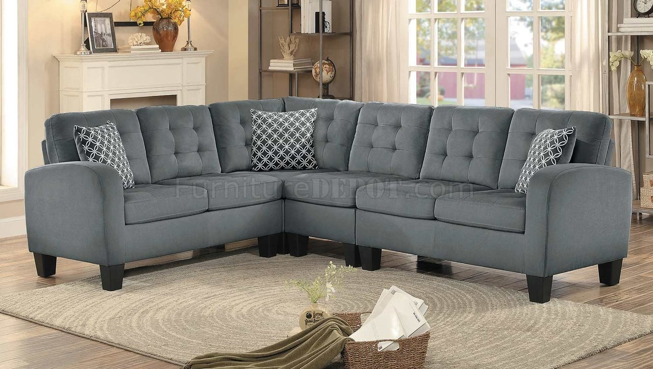 Sinclair Sectional Sofa 8202gry Sc In Grey Fabric With Regard To Noa Sectional Sofas With Ottoman Gray (View 12 of 15)