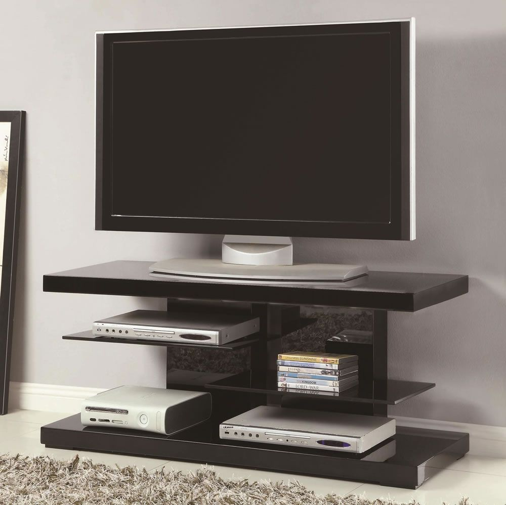 Small Modern Tv Stand With Open Glass Shelves In Black Regarding Small Tv Tables (View 4 of 15)