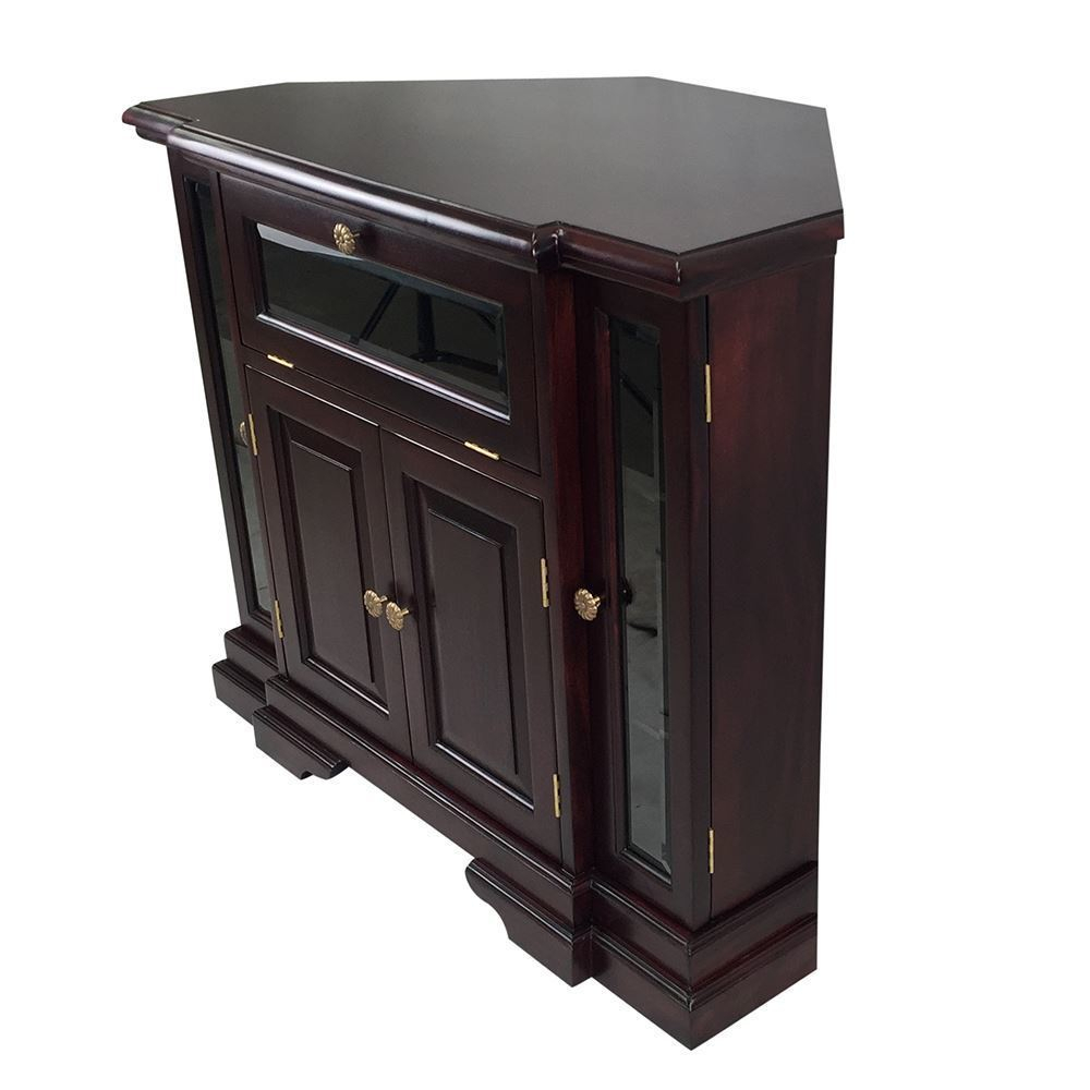 Solid Mahogany Wood Corner Tv Stand / Cabinet – Antique Pertaining To Corner Tv Cabinet With Hutch (View 15 of 15)