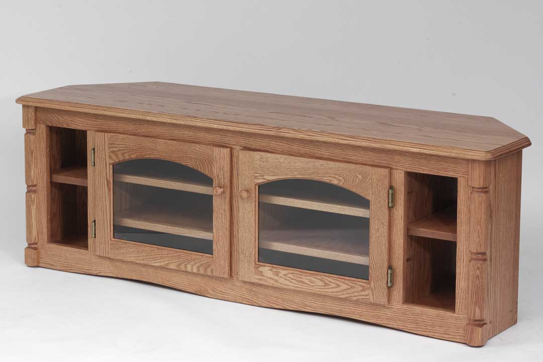 """Solid Oak Country Style Corner Tv Stand – 60"""" – The Oak With Regard To Corner 60 Inch Tv Stands (View 15 of 15)"""