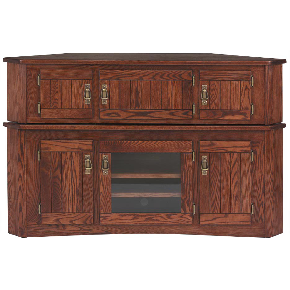 """Solid Oak Mission Corner Tv Stand Hi Boy – 55"""" – The Oak Throughout Wooden Tv Stand Corner Units (View 5 of 15)"""