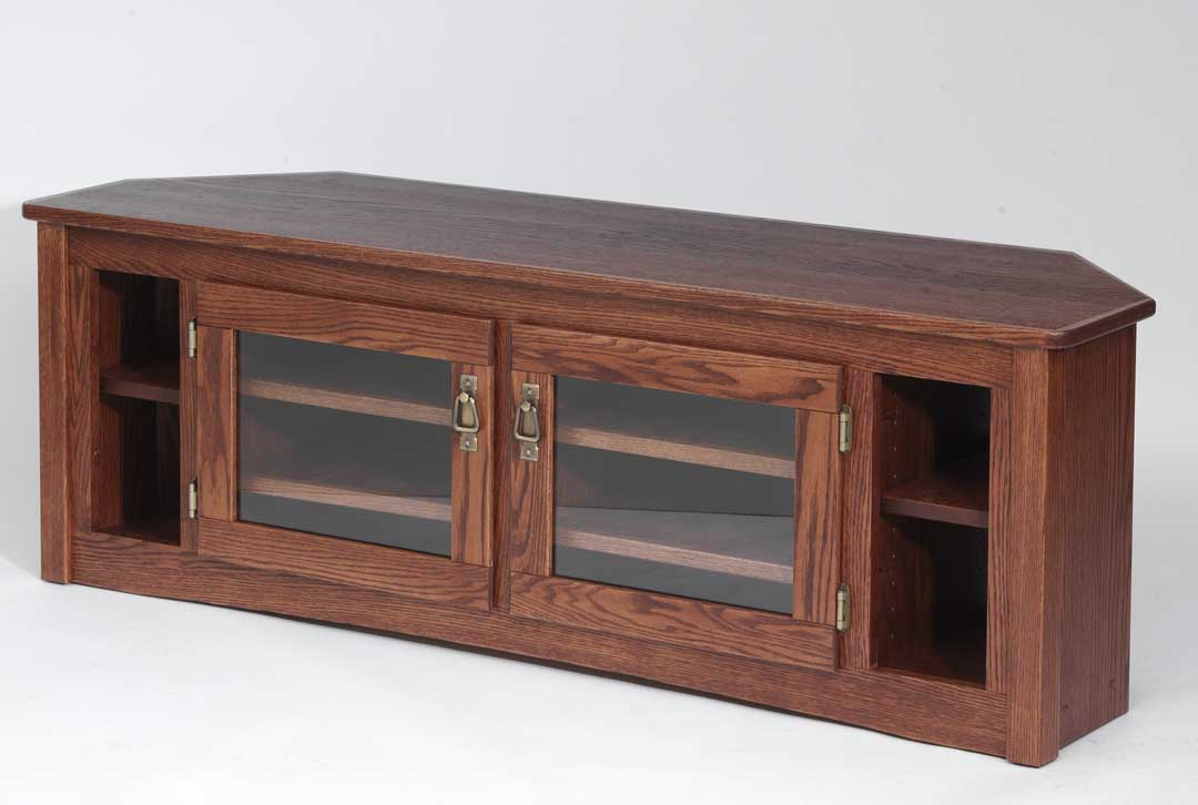 """Solid Oak Mission Style Corner Tv Stand – 60"""" – The Oak Intended For Corner 60 Inch Tv Stands (View 14 of 15)"""